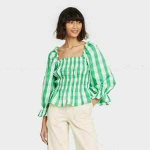 Who What Wear Womens Blouse Top Gingham Puff 3/4 Sleeve Smocked Peplum Green 2XL